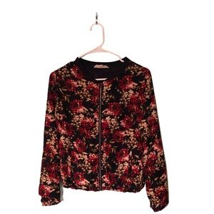 Floral Bomber Style zip up jacket XS